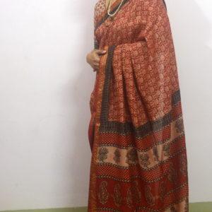 """लालिमा"" Madder dyed Bagh Print Saree  RBPS001"